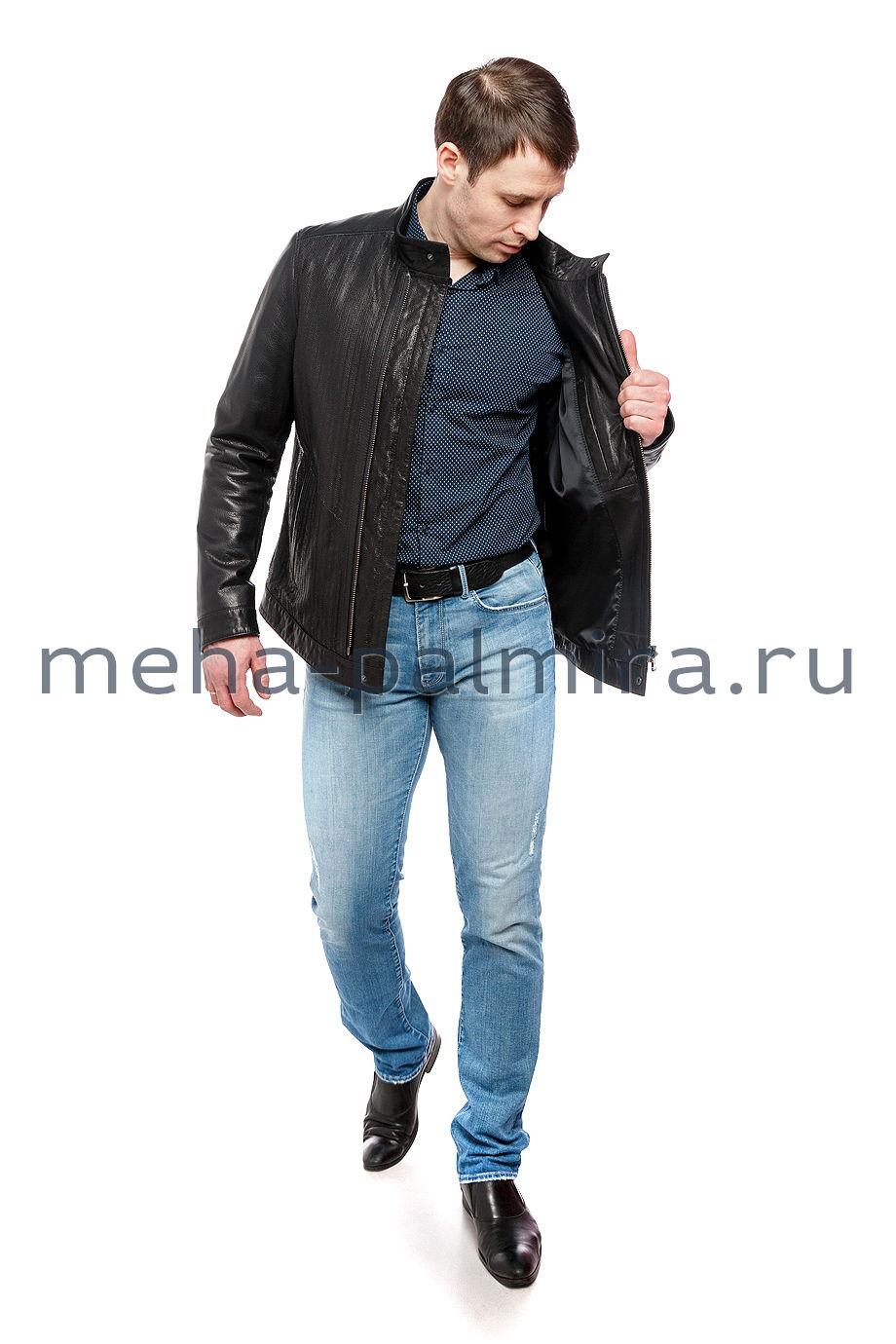 Мужская кожаная куртка на молнии