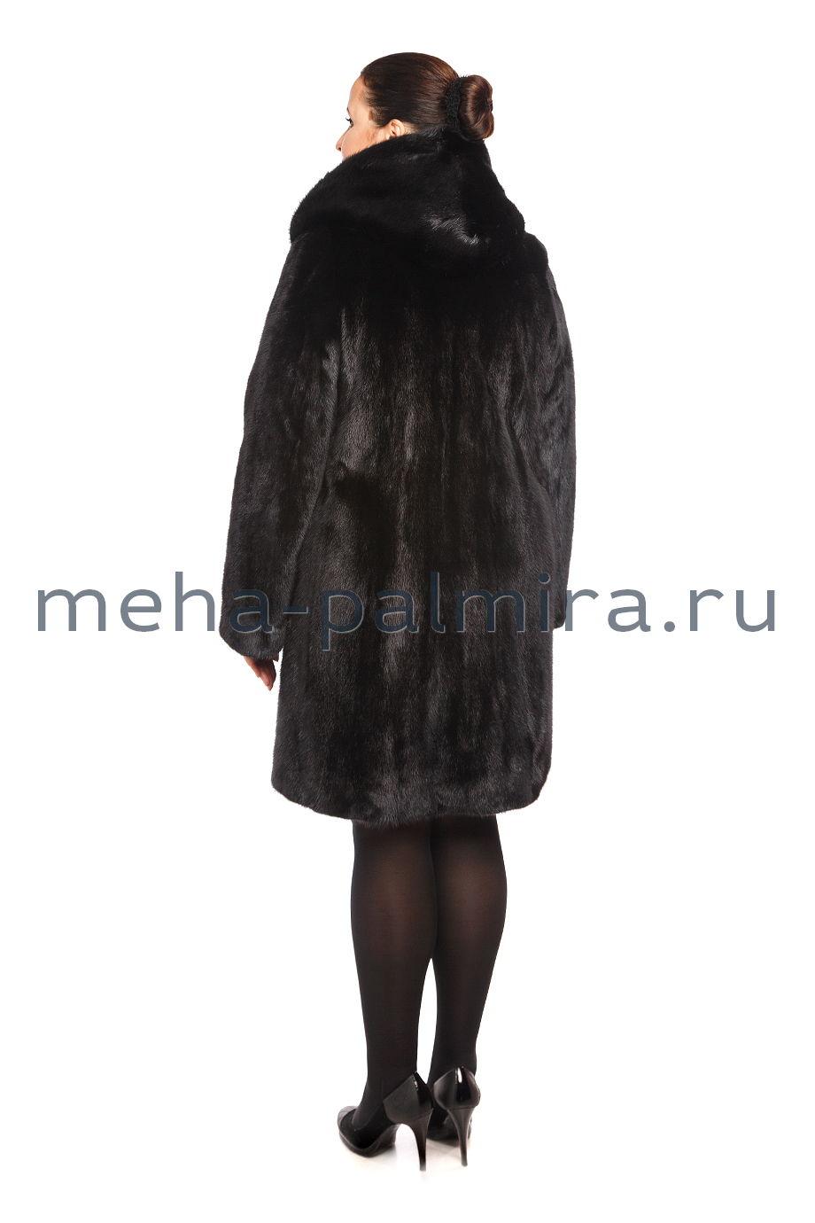 Черная норковая шуба с капюшоном 100 см