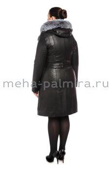 Утепленный женский плащ из кожи, черный