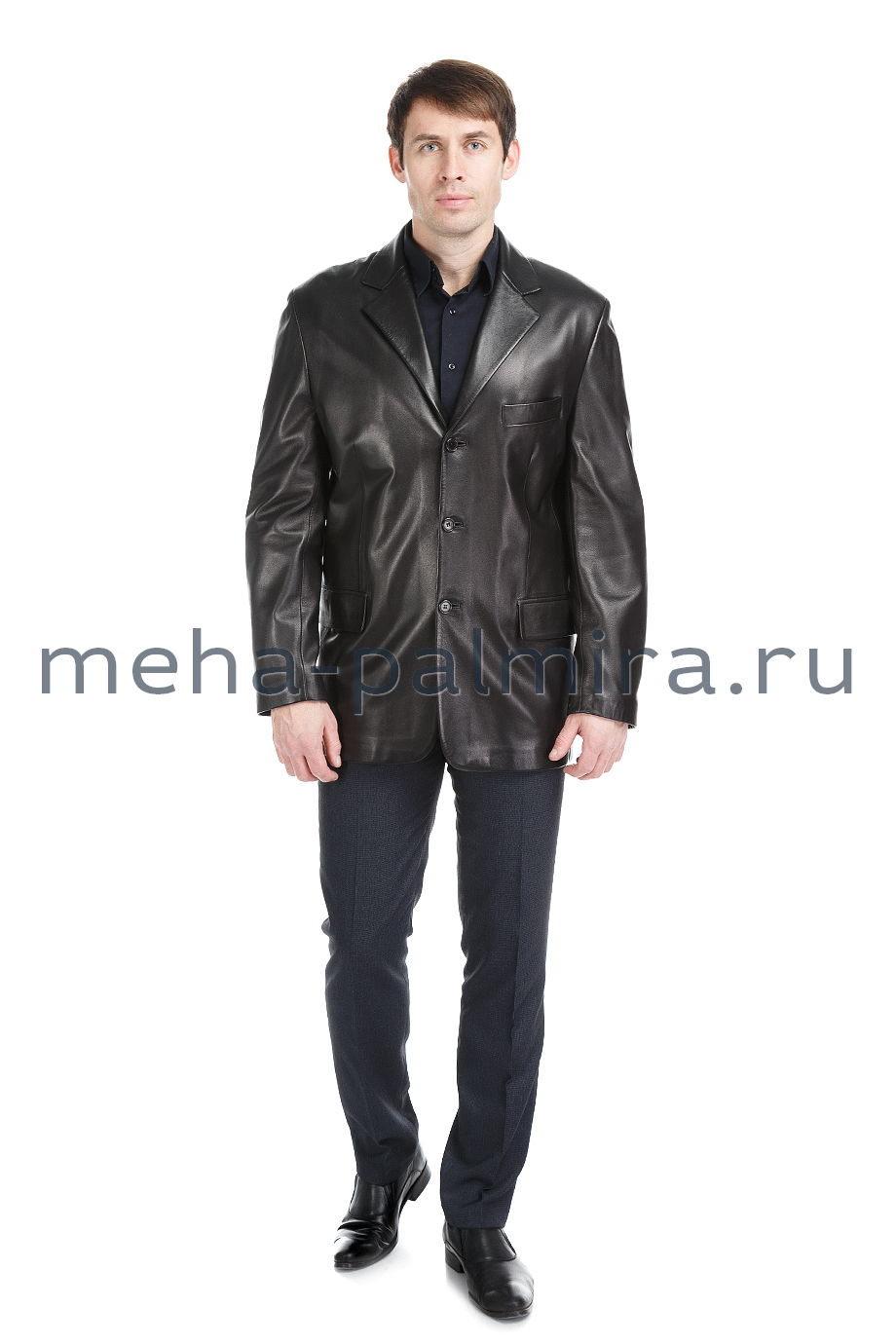 Мужской кожаный пиджак с английским воротником