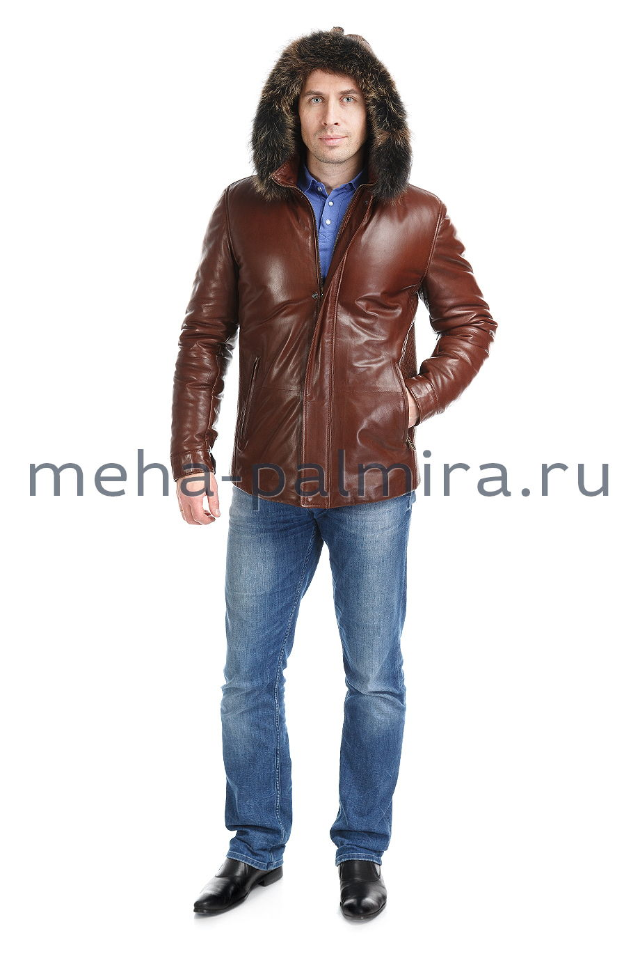Коричневый кожаный пуховик на молнии со съемным капюшоном