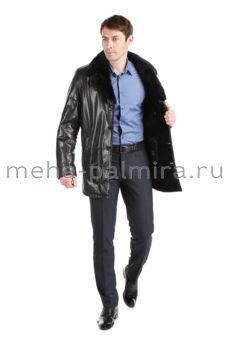 Мужская дубленка с отложным норковым воротником цвет черный
