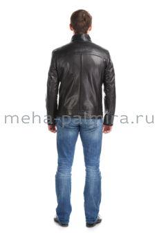 Мужская куртка из натуральной кожи с воротником стойкой