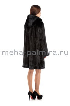 Норковая шуба балетка с капюшоном 90 см, черная