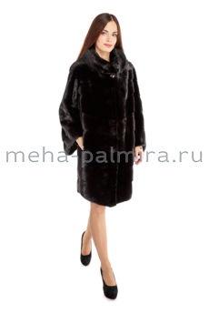 Модная шуба из норки цвет черный бриллиант