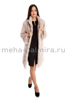 Норковая шуба с воротником стойкой, цвет пудра