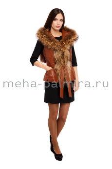 Утеплённая куртка с капюшоном, отделка мех енота