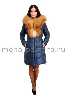 Синий кожаный пуховик с мехом рыжей лисы по капюшону