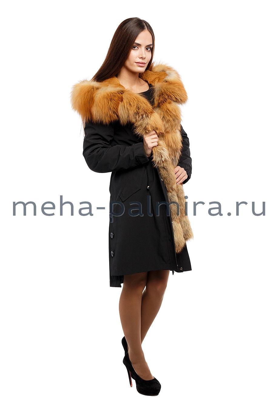 Меховая парка женская с мехом рыжей лисы
