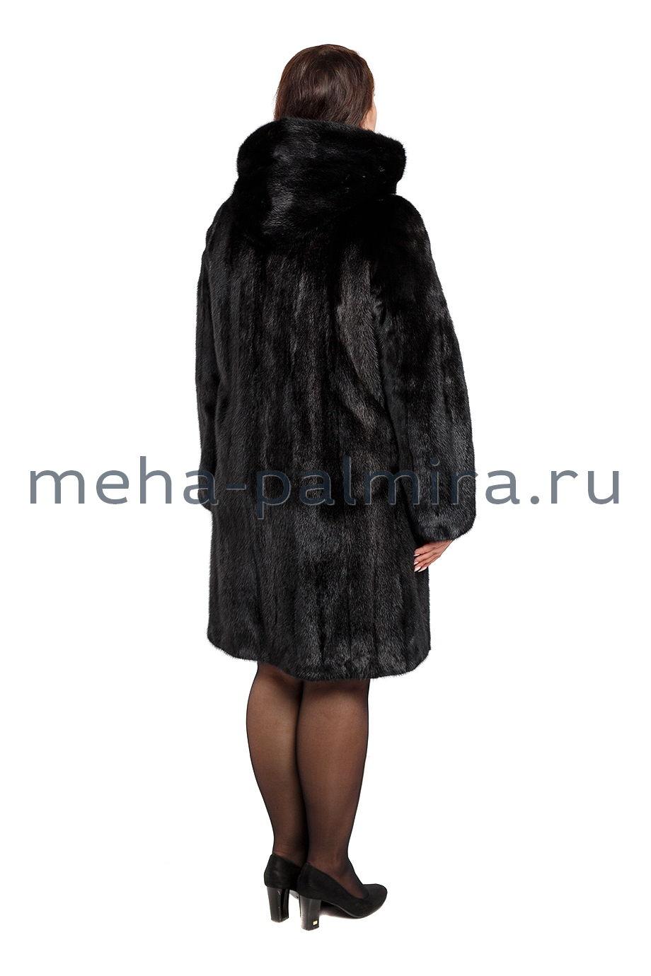 Черная шуба норковая с капюшоном
