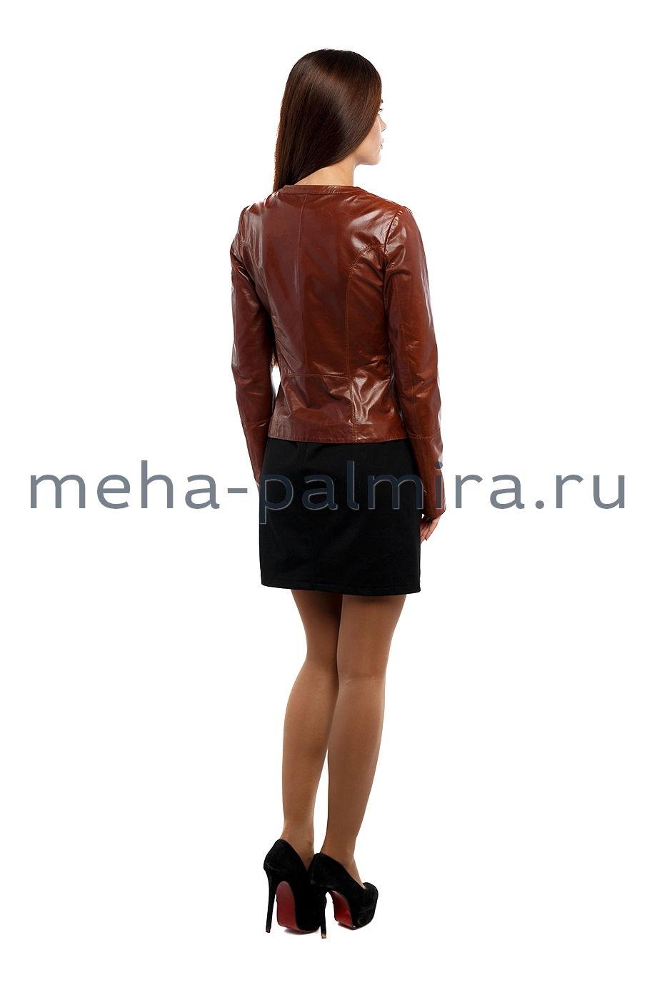 Коричневая кожаная куртка без воротника