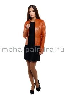 Женская рыжая куртка на молнии из натуральной кожи