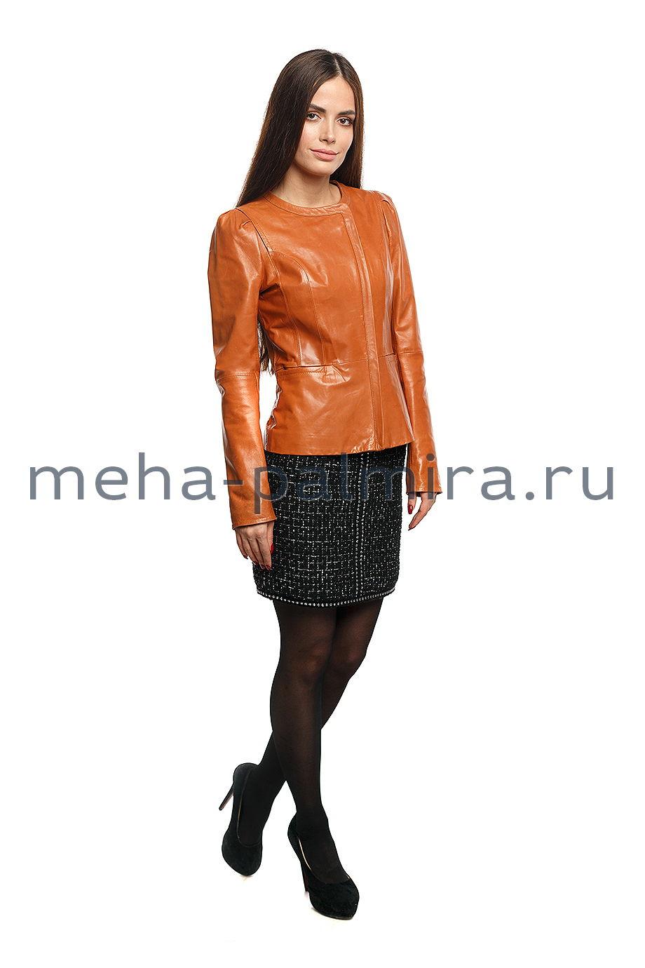 Куртка кожаная воротник шанель, рыжего цвета