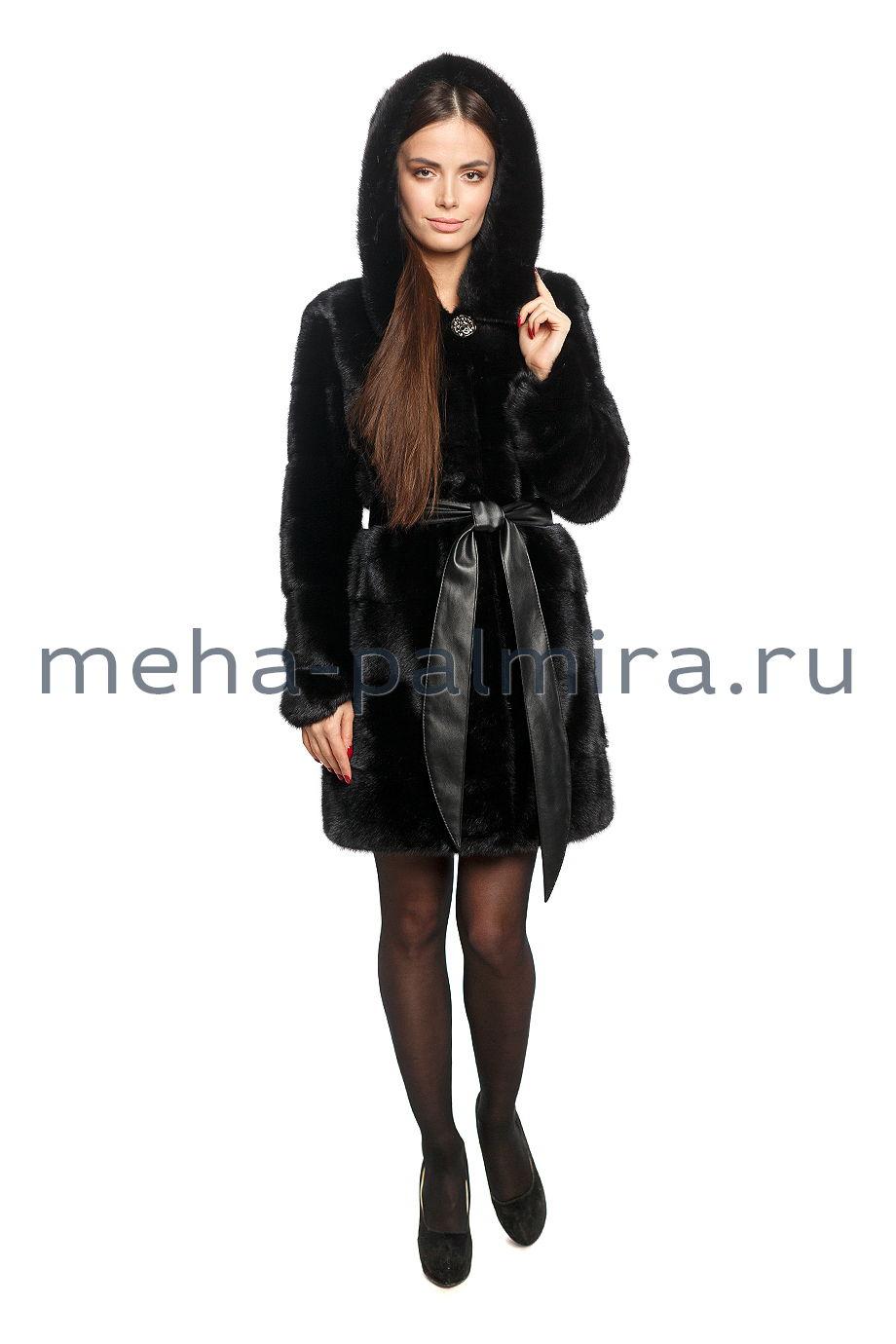 Норковая шуба поперечная с капюшоном, цвет черный