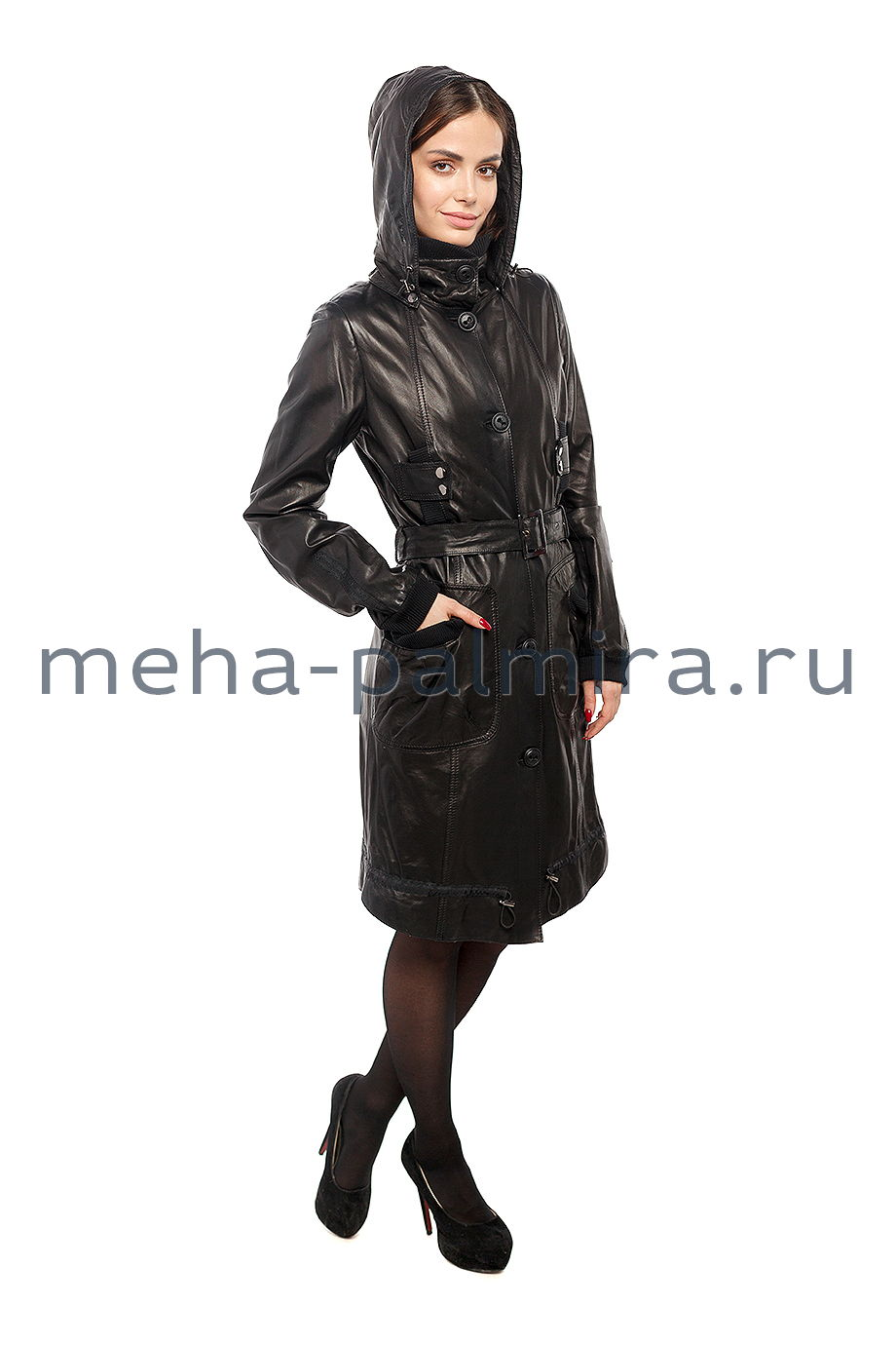 Черный женский кожаный плащ с трикотажем