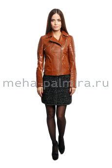 Кожаная куртка - косуха рыжего цвета
