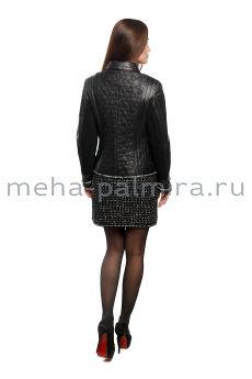 Куртка  из натуральной кожи с принтом
