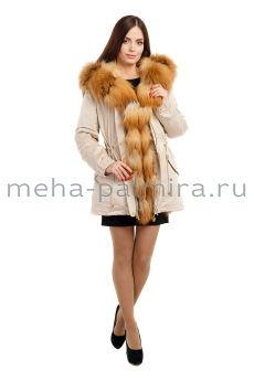 Зимняя женская парка утепленная мехом енота