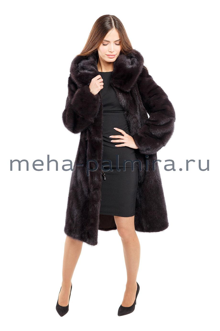 Прямое норковое пальто с поясом цвет уголь
