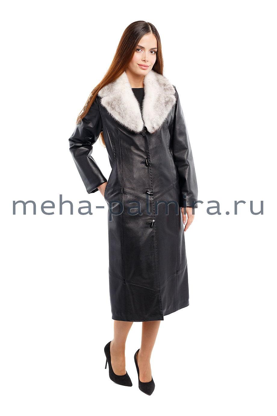 Женский кожаный плащ с мехом норки