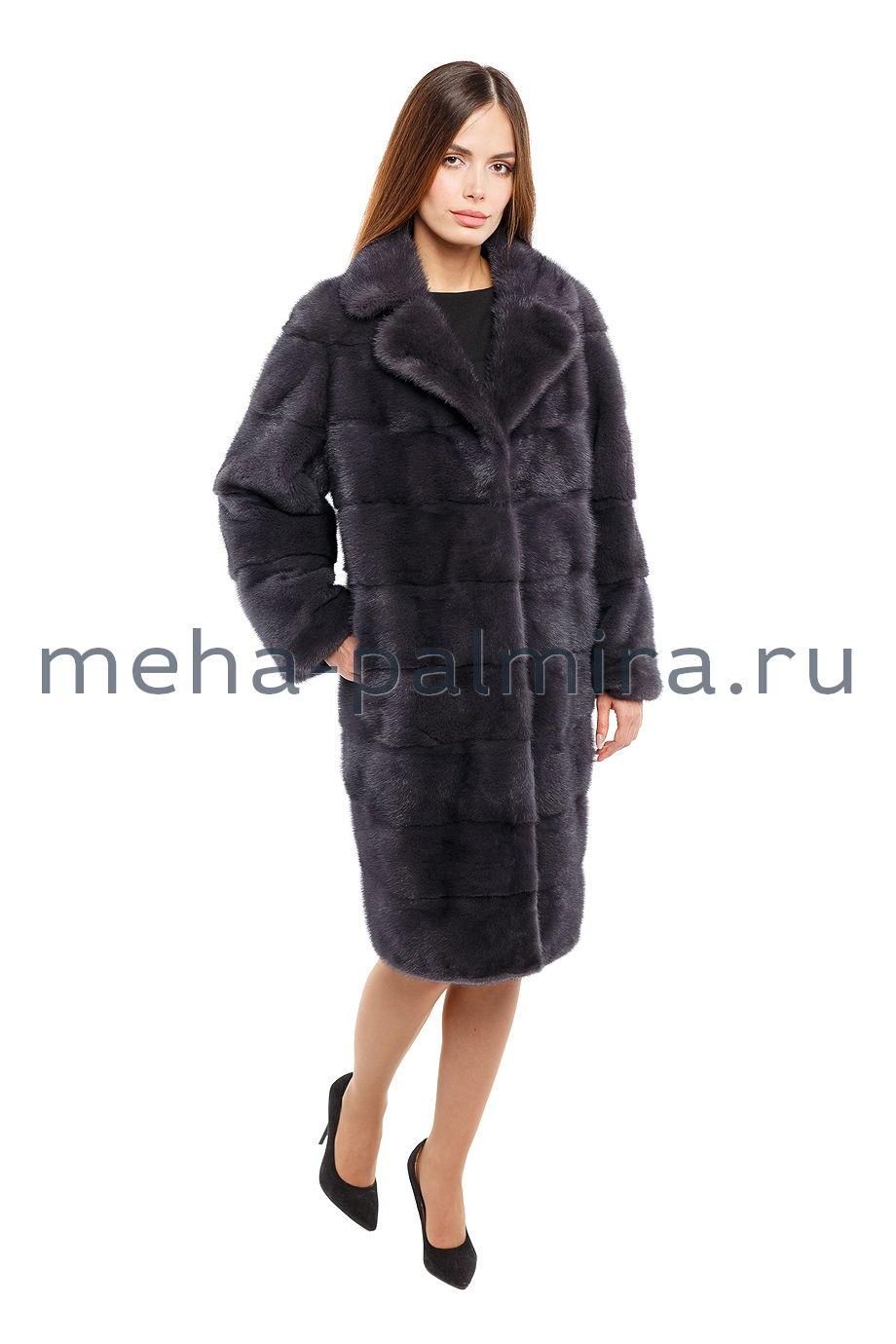Норковая пальто баллон с отложным воротником