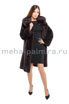 Норковое пальто с капюшоном цвет уголь