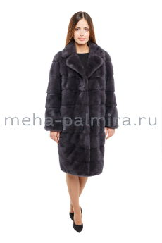 Норковая пальто баллон с воротником