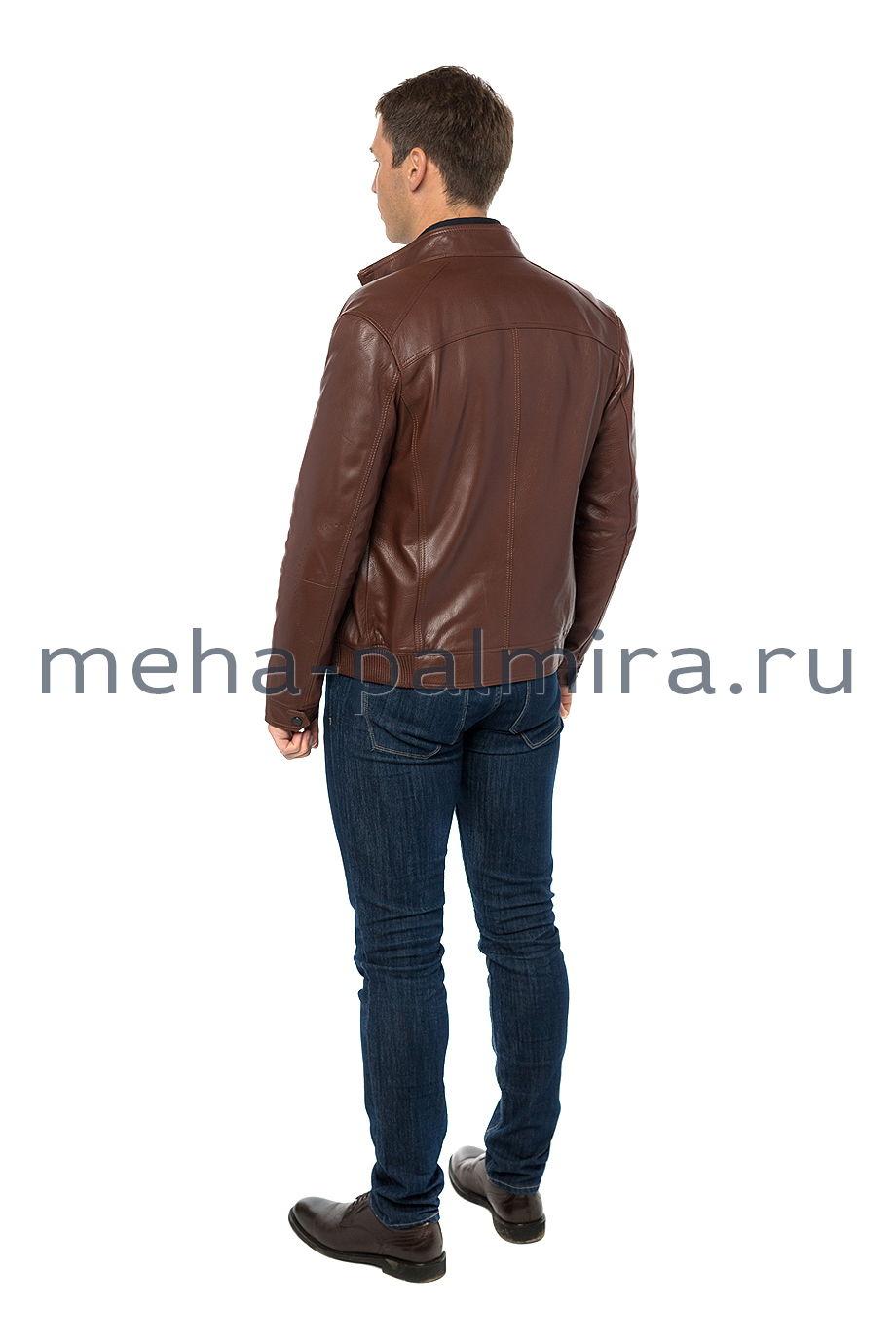 Коричневая куртка бомбер из кожи для мужчин