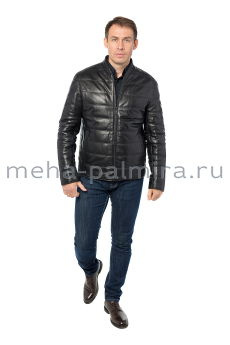 Утеплённая мужская куртка из кожи