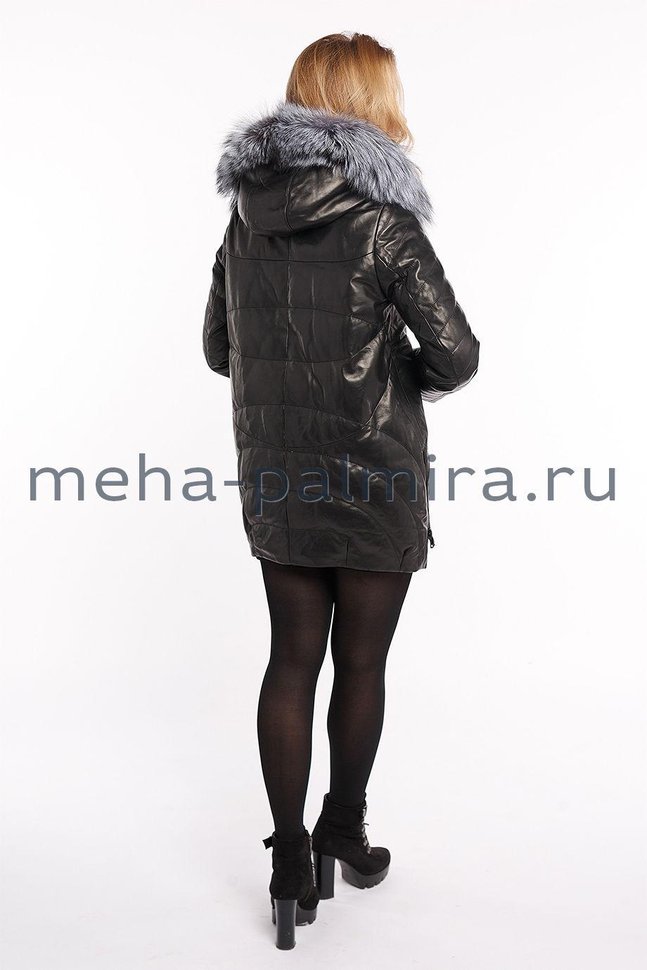 Черный кожаный пуховик с чернобуркой