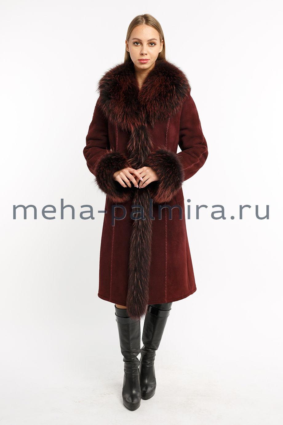 Женская дубленка из овчины цвет бордовый
