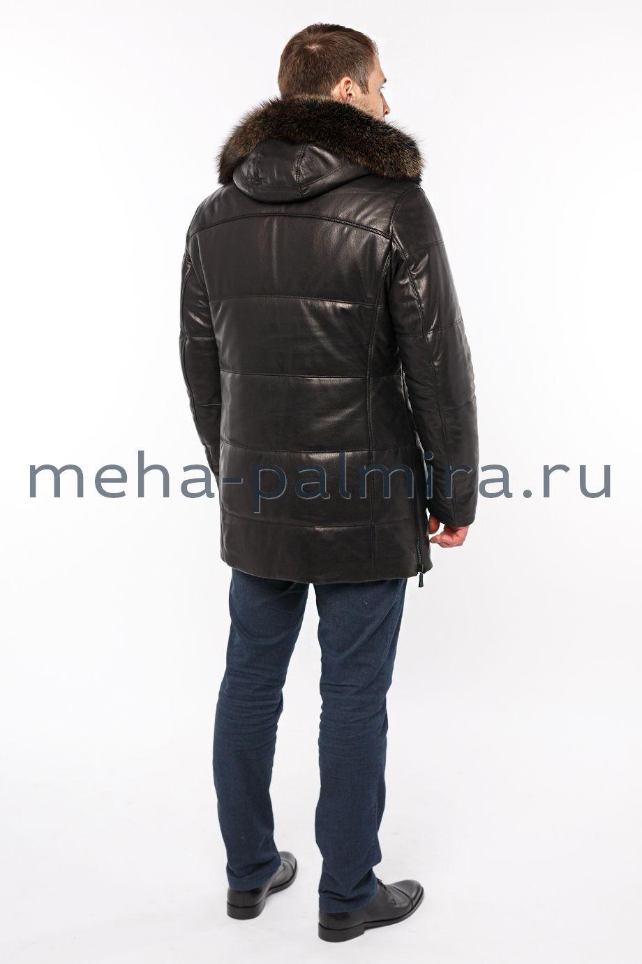Удлиненный кожаный пуховик с капюшоном
