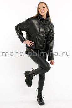 Кожаная куртка с накладными карманами