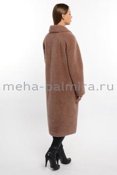 Длинное пальто из овечьей шерсти с отложным воротником