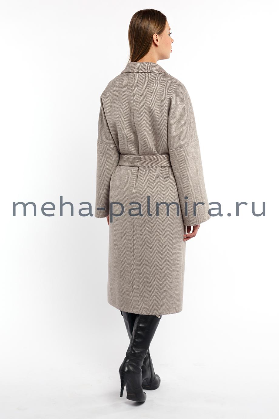 Женское пальто миди ворсовое