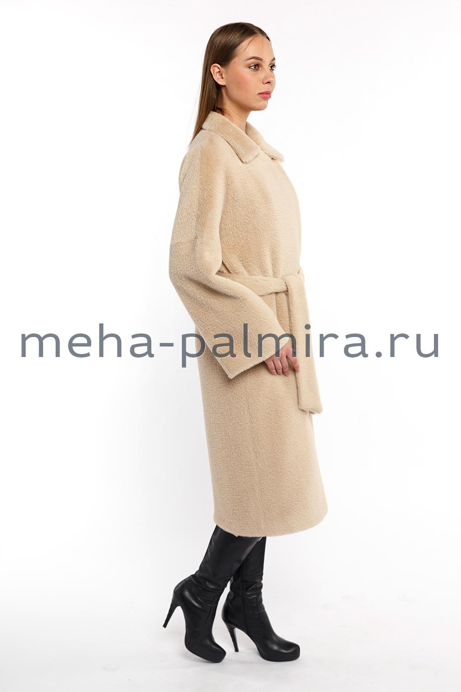 Пальто норка с шерстью цвет капучино
